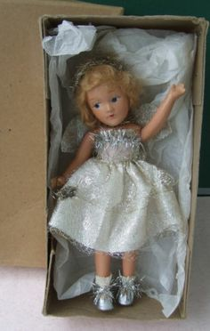 Antique Vintage all Bisque jointed Fairy Doll in nice condition & boxed ~~~
