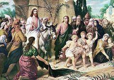 Bernhard Plockhorst of Brunswick, Germany - Palm Sunday (Matthew - Triumphal Entry of Jesus into Jerusalem, Syracuse, New York, circa The Risen, Christ Is Risen, Jesus Christ, Savior, Hosanna In The Highest, Triumphal Entry, Temple India, Palm Sunday, Pope John
