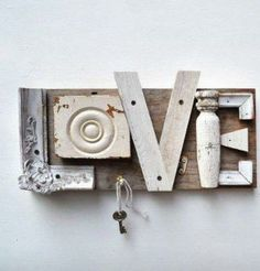 LOVE SIGN - Love how they used bits and pieces to make this.