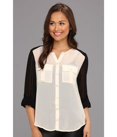 Colorblock Sheer Blouse.