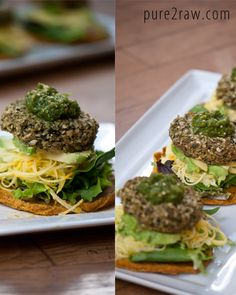 raw & vegan veggie tostadas with spiralized squash, avocado, & salsa verde // pure2raw.com