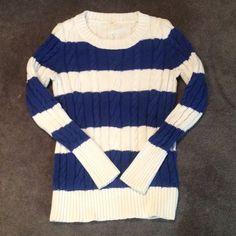 J Crew crew neck sweater, sz small Blue and white striped sweater by J.Crew. Size small. Smoke-free pet free home. VGUC J. Crew Sweaters Crew & Scoop Necks