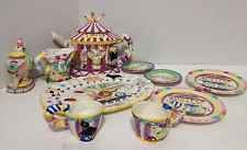 Adorable Vintage Children's Majolica Style Circus Tea Set NIB By Mercuries 1995