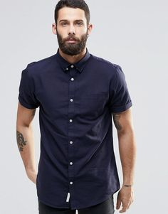 Image 1 of River Island Short-Sleeve Oxford Shirt In Navy