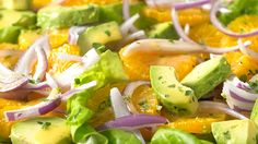 Orange, Avocado and Red Onion Salad: Serve this light and colourful salad alongside grilled meat, chicken or fish. Onion Salad, Potato Salad, Grape Salad, Orange Recipes, Kinds Of Salad, Grilled Meat, Salad Recipes, Avocado, Healthy Eating