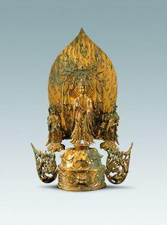 北魏晚期-東魏鎏金一佛二菩薩銅造像 通高35厘米 陝西曆史博物館藏