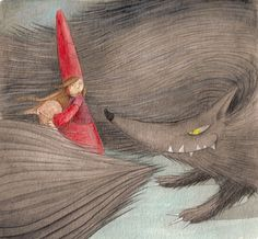 Loup et le petit chaperon rouge illustration little red riding hood and the wolf attenti al lupo e cappuccetto rosso Rotkäppchen Little Red Ridding Hood, Red Riding Hood, Fairytale Fantasies, Fairytale Art, Red Hood, Children's Book Illustration, Rapunzel, Illustrators, Fairy Tales