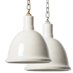 "This small Barbara Cosgrove pendant light provides versatile, minimalistic style to modern bedrooms, kitchens, and living spaces. A fired, hand-glazed ceramic shade suspended from a classic chain provides glossy appeal to light up a room.14.5""H. 12.5""Diameter. Chain: 3'L. Clay White finish. Brass or nickel chain available. Hardwired. Accepted two 60-watt bulbs (not included)"
