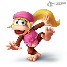 she was a playable character in Donkey Kong Country 2 and Nintendo Characters, Girls Characters, Super Nintendo, Super Smash Bros, Super Mario Bros, Game Mario Bros, Marvel Cartoon Movies, Mario Toys, Diddy Kong