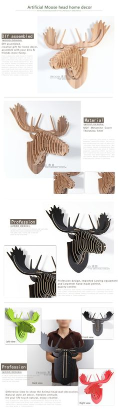 8 colours  wood craft moose head wall hanging decoration, IWood Product Details from Guangzhou iWood Crafts Co., Limited on Alibaba.com