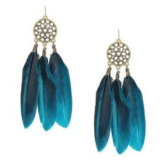 Yoins Feather Drop Earrings (5.78 NZD) ❤ liked on Polyvore featuring jewelry, earrings, accessories, blue, lightweight earrings, drop earrings, blue earrings, leather feather earrings and leather jewelry