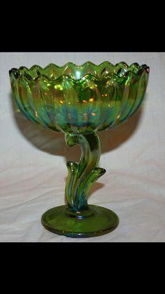 Indiana Glass Carnival green Flower Pedestal by sunnysunshine33, $24.99
