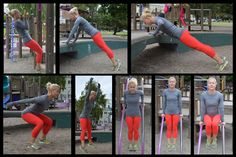 """Tired of """"working out""""? Try playing instead! Head to a playground with these simple moves, break a sweat, and have fun at the same time! The best part: you don't have to bring any equipment with yo..."""