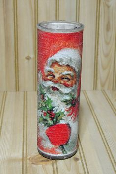 Vintage Christmas Frosted Sugar Glass Candle Santa Claus Holly Holidays