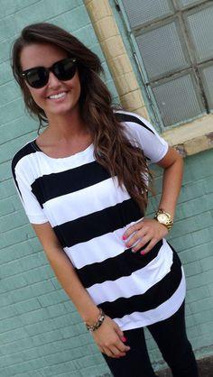 Black & White Striped Shirt,Simple & Cute