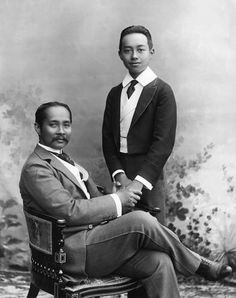 King Chulalongkorn the Great of Siam and the Crown Prince c1890.