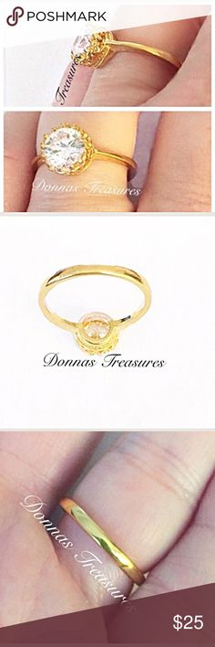 🇺🇸1 Carat Austrian Crystal Engagement Ring This 18 Carat Yellow Gold plated (over nickel free alloy) Crown Setting holds an (approx.) 1 Carat Ice White Austrian Crystal. 0565-1 Jewelry Rings