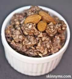 This slow cooker almond blast oatmeal tastes like candy, but is a healthy way to start your morning. Who wouldn't want to eat a breakfast that reminds them of an almond candy bar? Healthy Recipes, Fall Recipes, Dog Food Recipes, Cooking Recipes, Vegetarian Recipes, Cooking Tips, Skinny Recipes, Yummy Recipes, Diet Recipes