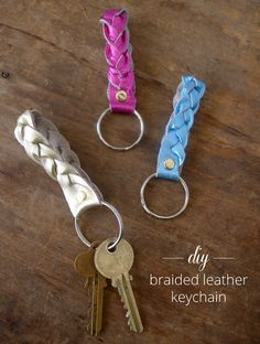 Thanks, I Made It : DIY Magic Braid Leather Keychain. This would be easy with pop-rivets and scrap leather