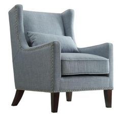 Loris Contemporary Linen Wingback Accent Chair, Blue, Arm Chairs, by Inspire Q Wingback Armchair, Blue Armchair, Grey Chair, Recliner Chairs, Recliners, Modern Armchair, Swivel Chair, Modern Chairs, Living Room Chairs