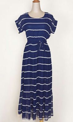 Stripe pleated maxi vest dress 3672