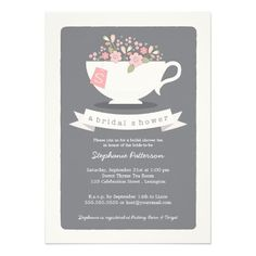 tea party bridal shower invites with cute pink flowers in a teacup and personalized monogram, on simple gray background #bridalshowerinvitations #teaparty