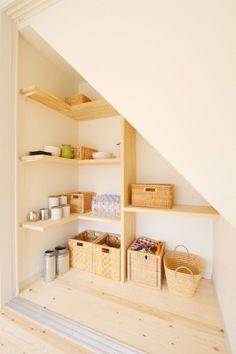 階段下パントリー Built In Furniture, Stair Storage, Interior Decorating, Interior Design, Under Stairs, Home And Deco, Stairways, Home Renovation, Ideal Home