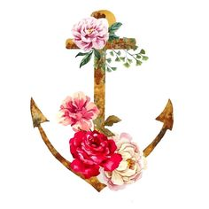 Watercolor Anchor and flowers Temporary tattoo por WildLifeDream