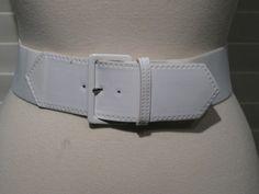 Vintage Ladies White Fabric Stretch Waist Belt With Patent Trim Size Medium by GoodBuyForNow on Etsy