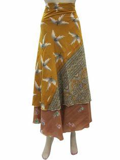 Sari Wrap Around Skirt Two Layer Yellow Brown Floral Beach Wrap Dress Mogul Interior,http://www.amazon.com/dp/B00H727K4S/ref=cm_sw_r_pi_dp_c7NRsb03FVY2TTSD