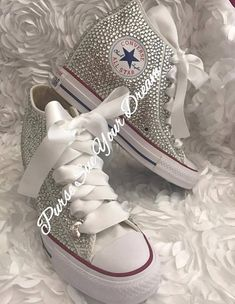 04e84fee799 Converse Wedge Swarovski Crystal Wedding Converse - Converse Wedding Shoes  - Rhinestone Converse - S
