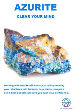Working with Azurite will boost your ability to bring your mind back into balance, help you to recognize self-limiting beliefs and give you back your confidence.