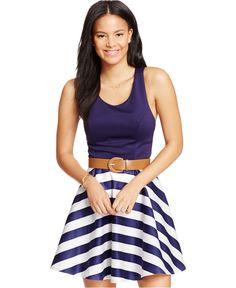 City Studios Juniors' Crisscross-Back Fit-and-Flare Dress - Juniors Dresses - Macy's