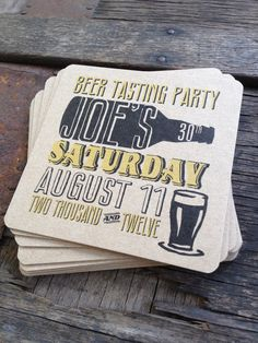 Personalized Beer Party Coasters Set of 8 For by twinebindery bday party idea. What a fun idea for an invitation 30th Party, 30th Birthday Parties, Dad Birthday, Theme Parties, Frozen Birthday, Design Web, Sous Bock, Beer Tasting Parties, Beer Coasters