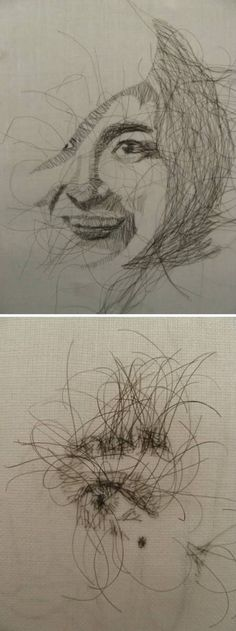 29th January: Zaira Pulido has been asking every one of her friends for strands of their hair to use in a series of embroidered artworks. She uses human hair instead of the usual thread and creates various works, like embroidered portraits of her friends (each made with their own hair). the reason for looking at her work is that she physically uses part of these people, it brings life to the piece.