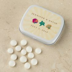 Seaside Design Personalized Wedding Mints Favor | Beach Wedding Favors