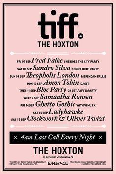#TIFF12 specials @ The Hoxton (4am last call, yo)