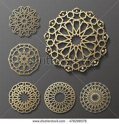Islamic ornament vector , persian motiff . 3d ramadan islamic round pattern elements . Geometric logo template set. Circular ornamental arabic symbols vector .