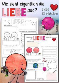 Vorschau - Arbeitsblätter - Wie sieht eigentlich Liebe aus? - Sketchnote - Deckblatt Sketch Notes, Do Love, Bullet Journal, Colours, Words, Homeschooling, Sport, Instagram, Philosophy