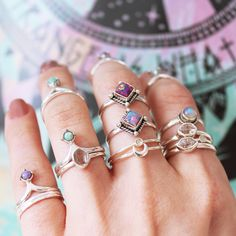 ❉ Bohemian Shop Dixi Rings from our Sunset Lovers collection in store now! ❉ ✒ Shop The Magic Now @ www.shopdixi.com // boho // bohemian // jewellery // jewelry // grunge // witchy // thumb // sterling silver // ring // hippie // summer // ocean // beach // sunrise // sunshine // lavender // pink // opal // lookbook