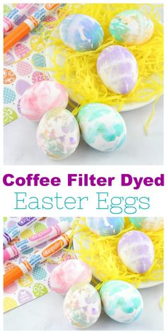 Coffee Filter Dyed Easter Eggs are a fun and easy way to Dye Easter Eggs easter treats for daycare Easter Egg Dye, Easter Egg Crafts, Coloring Easter Eggs, Hoppy Easter, Easter Treats, Easter Stuff, Egg Decorating, Decorating Blogs, Coffee Filter Crafts