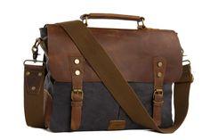 Image of Handmade Canvas Leather Bag Briefcase Messenger Bag Shoulder Bag Laptop Bag 1807
