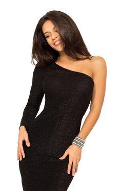 c9edaca35365 Платье асимметрия на одно плечо миди из трикотажа люрекс Одно Плечо