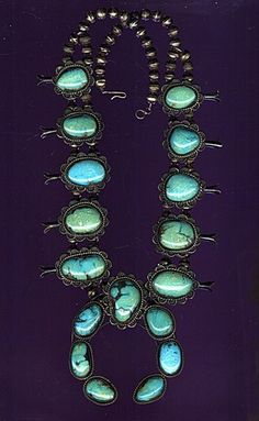 NAVAJO Native American Turquoise Squash Blossom Necklace