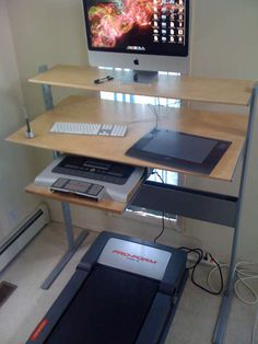DIY treadmill desk.     I like this one bunches!!!!!!