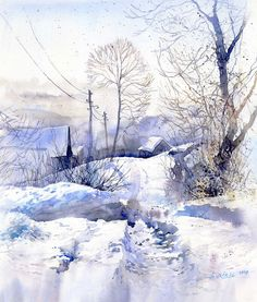 Winter Scenery, watercolor by GreeGW on deviantart Watercolor Landscape, Watercolor And Ink, Watercolor Illustration, Watercolour Painting, Landscape Art, Painting & Drawing, Landscape Paintings, Watercolors, Winter Landscape