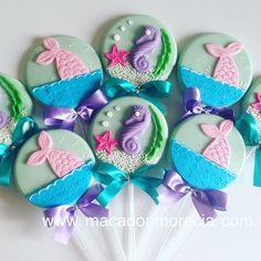 Mermaid Theme Birthday, Little Mermaid Birthday, Little Mermaid Parties, Mermaid Baby Showers, Baby Mermaid, Mermaid Under The Sea, The Little Mermaid, Paletas Chocolate, Lolly Cake