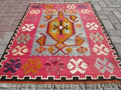 Antique Turkish Anatolian kilim bohemian rug