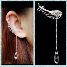 """ON THE WINGs OF LOVE 925 SILVER RIGHT EAR CUFF ❤️ SO ELEGANT!! 925 Silver Wing light weight 4"""" long Filled with mini Austrian Crystals and a Dangling Clear Bead.  REALLY LOVELY❤️ Jewelry"""