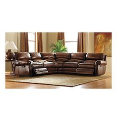 Product: Bernhardt® Brown Multi-Piece Leather Reclining Sectional